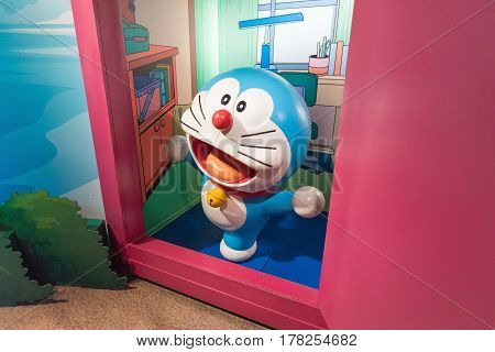 BANGKOK - JAN 29: A waxwork of Doraemon on display at Madame Tussauds on January 29, 2016 in Bangkok, Thailand. Madame Tussauds' newest branch hosts waxworks of numerous stars and celebrities