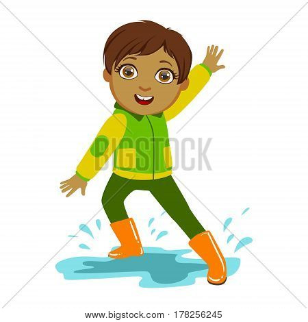 Boy In Green And Yellow Jacket, Kid In Autumn Clothes In Fall Season Enjoyingn Rain And Rainy Weather, Splashes And Puddles. Cute Cheerful Child In Warm Clothing Having Fun Outdoors Vector Illustration.