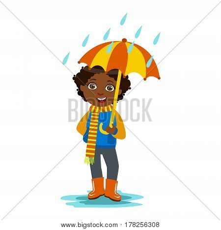 Boy With Open Umbrella Standing Under Raindrops, Kid In Autumn Clothes In Fall Season Enjoyingn Rain And Rainy Weather, Splashes And Puddles. Cute Cheerful Child In Warm Clothing Having Fun Outdoors Vector Illustration.