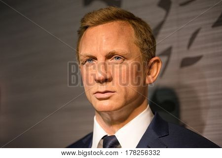 Bangkok - Jan 29: A Waxwork Of Daniel Craig On Display At Madame Tussauds On January 29, 2016 In Ban