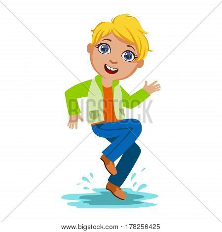 Boy Dancing Splashing Water, Kid In Autumn Clothes In Fall Season Enjoyingn Rain And Rainy Weather, Splashes And Puddles. Cute Cheerful Child In Warm Clothing Having Fun Outdoors Vector Illustration.