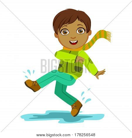 Boy Kicking Water With Foot, Kid In Autumn Clothes In Fall Season Enjoyingn Rain And Rainy Weather, Splashes And Puddles. Cute Cheerful Child In Warm Clothing Having Fun Outdoors Vector Illustration.