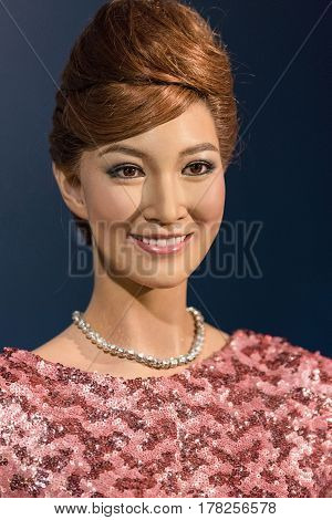 Bangkok - Jan 29: A Waxwork Of Khemanit Jamikorn On Display At Madame Tussauds On January 29, 2016 I