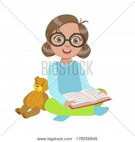 Girl In Glasses With Teddy Bear Reading A Book, Part Of Kids Loving To Read Vector Illustrations Series. Bookworm Young Child Who Loves Storybooks And Literature Cartoon Character.