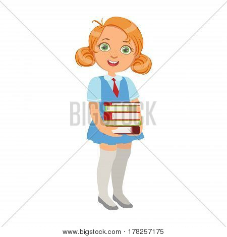Girl In School Uniform Holding Pile Of Books , Part Of Kids Loving To Read Vector Illustrations Series. Bookworm Young Child Who Loves Storybooks And Literature Cartoon Character.
