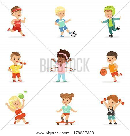 Small Kids Playing Sportive Games And Enjoying Different Sports Exercises Outdoors And In Gym Set Of Cartoon Illustrations. Cute Children And Active Lifestyle Series Of Adorable Characters.