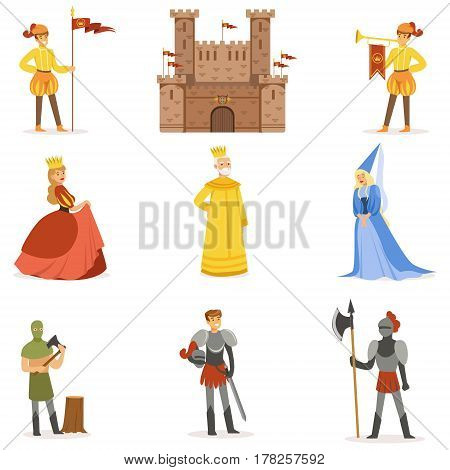 Medieval Cartoon Characters And European Middle Ages Historic Period Attributes Set Of Icons. Fairy Tale And Fable Related Vector Illustrations Inspired By Europe History.