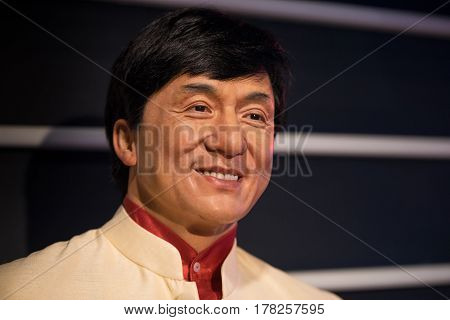 Bangkok - Jan 29: A Waxwork Of Jackie Chan On Display At Madame Tussauds On January 29, 2016 In Bang
