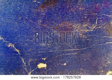 Old blue paper texture with cracks and stains. Abstract background