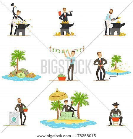 Illegal Money Laundering And Using Offshores Series Of Illustrations With Corrupt Businessman Washing Dirty Money. Business, Corruption And Tax Heaven Related Collection Of Metaphorical Cartoon Illustrations.