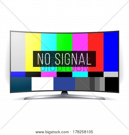No Signal TV Test Vector. Lcd Monitor. Flat Screen TV. Television Colored Bars Signal. SMPTE bars
