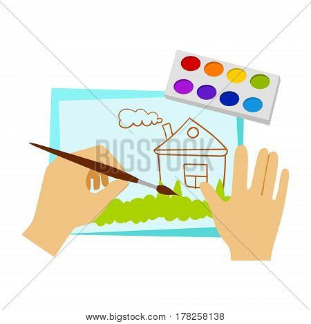 Two Hands Drawing With Paint And Brush, Elementary School Art Class Vector Illustration. Craft And Art For Young Kids Isolated Cartoon Vector Illustration .