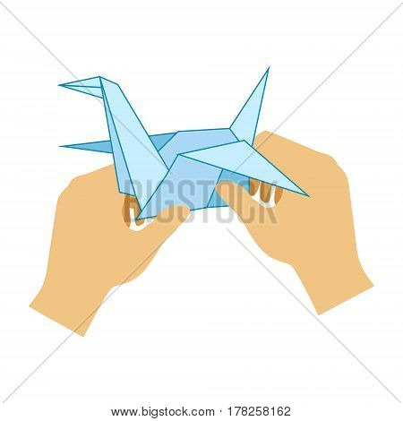 Two Hands Doing Origami Paper Crane, Elementary School Art Class Vector Illustration. Craft And Art For Young Kids Isolated Cartoon Vector Illustration .