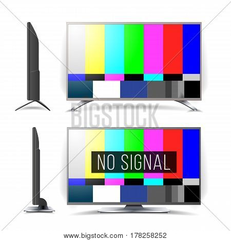 No Signal TV Test Pattern Vector. Lcd Monitor. Flat Screen TV. Television Colored Bars Signal. Analog and NTSC standard tv test screen. maintenance component