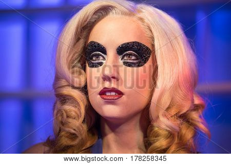 Bangkok - Jan 29: A Waxwork Of Lady Gaga On Display At Madame Tussauds On January 29, 2016 In Bangko
