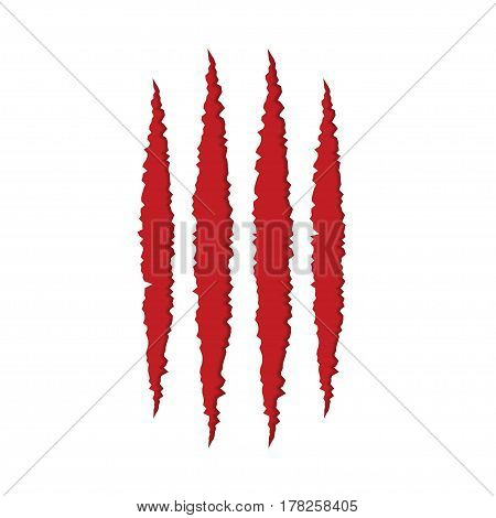 Animal red monster claw scratches on white paper background