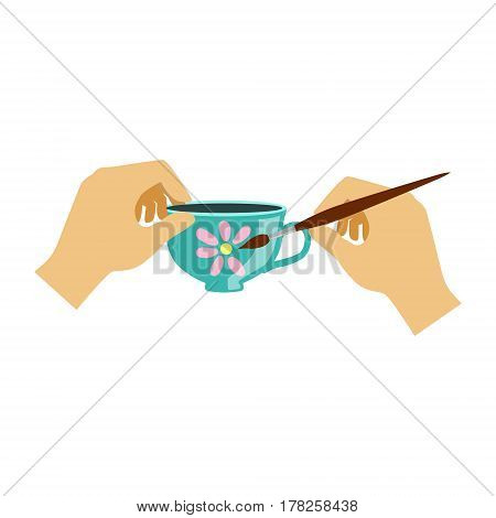 Two Hands Painting a Teacup, Elementary School Art Class Vector Illustration. Craft And Art For Young Kids Isolated Cartoon Vector Illustration .