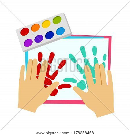 Two Hands Painting With Finger Paint, Elementary School Art Class Vector Illustration. Craft And Art For Young Kids Isolated Cartoon Vector Illustration .