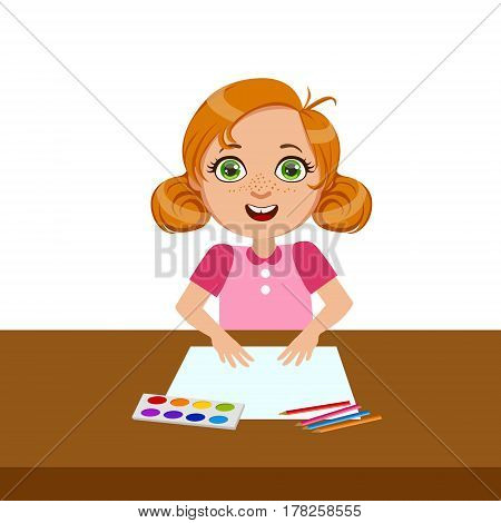 Girl With Paper, Paint And Brush, Elementary School Art Class Vector Illustration. Craft And Art For Young Kids Isolated Cartoon Vector Illustration .