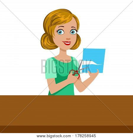 Teacher Demonstrating How To Cut The Paper For Applique, Elementary School Art Class Vector Illustration. Craft And Art For Young Kids Isolated Cartoon Vector Illustration .