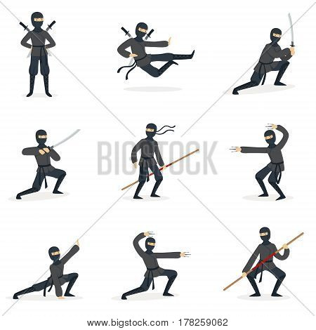 Japanese Ninja Assassin In Full Black Costume Performing Ninjitsu Martial Arts Postures With Different Weapons Series Of Illustrations. Male Japan Invisible Warrior Spy And His Gear And Skills Cartoon Drawings.