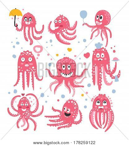 Octopus Emoticon Icons With Funny Cute Cartoon Marine Animal Characters In Different Disguises At The Party. Pink Underwater Creatures With Tentacles Stylized Set Of Vector Drawings.