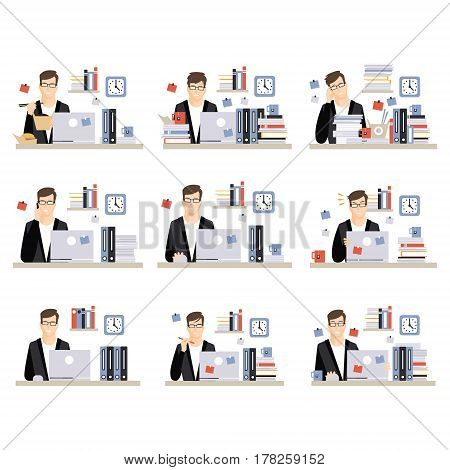 Male Office Worker Daily Work Scenes With Different Emotions, Set Of Illustrations Of Busy Day At The Office. Vector Minimalistic Icons With Working Person Sitting At The Desk With Laptop.