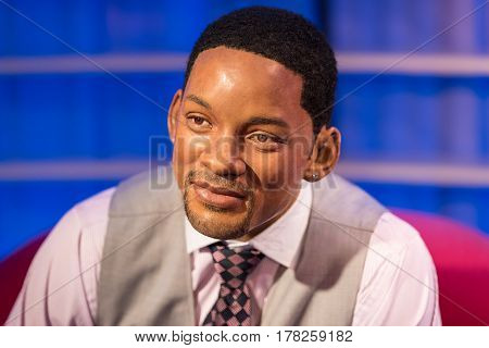 BANGKOK - JAN 29: A waxwork of Will Smith on display at Madame Tussauds on January 29, 2016 in Bangkok, Thailand. Madame Tussauds' newest branch hosts waxworks of numerous stars and celebrities
