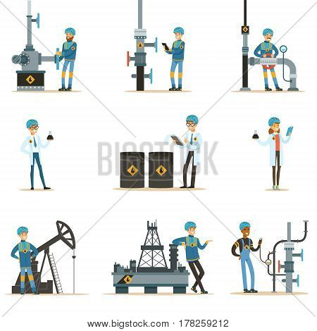 Happy People Working In Oil Industry Set Of Cartoon Characters Working At The Pipeline And Petroleum Extraction Machinery. Industrial Oil Borehole And Its Workers Vector Illustrations With Refinery Equipment.
