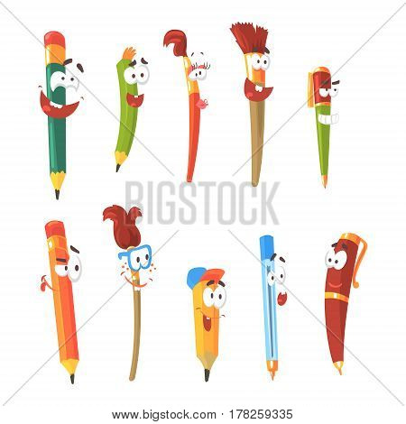 Smiling Pen, Pencils And Brushes, Set Of Animated Stationary Cartoon Characters Isolated Colorful Stickers. Writing And Drawing Tools Alive Funny Illustrations In Childish Bright Cool Style.