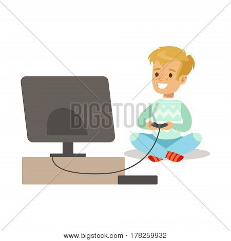 Boy With Joystick And Console, Part Of Happy Gamers Enjoying Playing Video Game, People Indoors Having Fun With Computer Gaming. Modern Playing Technology Entertainment For Home Leisure Vector Illustration.