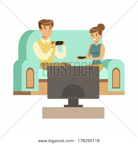 Couple Sitting On The Sofa With Joysticks, Part Of Happy Gamers Enjoying Playing Video Game, People Indoors Having Fun With Computer Gaming. Modern Playing Technology Entertainment For Home Leisure Vector Illustration.