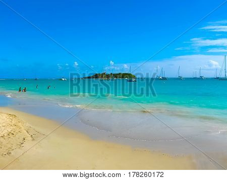 Anse Champagne beach in Saint Francois at Guadeloupe, Caribbean