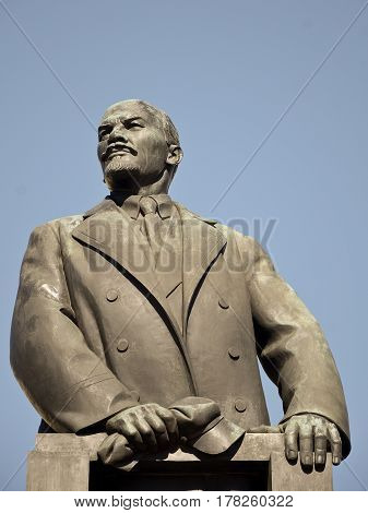 MINSK BELARUS - March 23 2017 Statue Of Lenin in Minsk