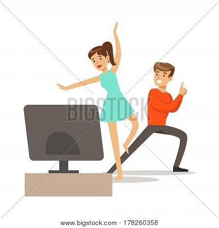 Couple, Console And Motion Capture Dancing, Part Of Happy Gamers Enjoying Playing Video Game, People Indoors Having Fun With Computer Gaming. Modern Playing Technology Entertainment For Home Leisure Vector Illustration.