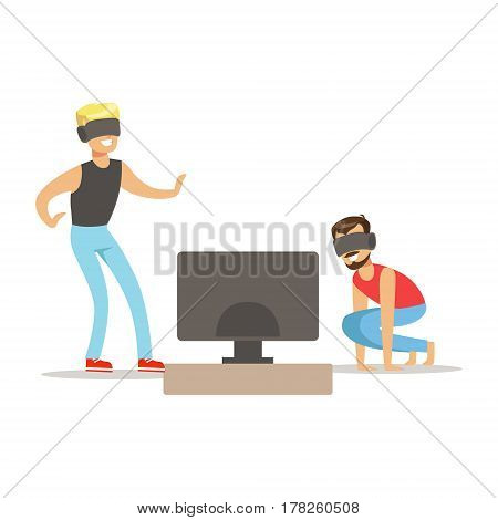 Two Friends In Virtual Reality Glasses, Part Of Happy Gamers Enjoying Playing Video Game, People Indoors Having Fun With Computer Gaming. Modern Playing Technology Entertainment For Home Leisure Vector Illustration.