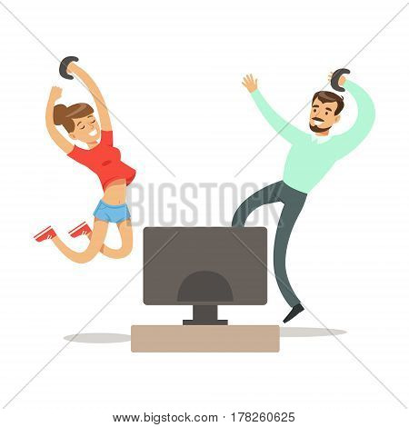 Couple With Joysticks Jumping Winning, Part Of Happy Gamers Enjoying Playing Video Game, People Indoors Having Fun With Computer Gaming. Modern Playing Technology Entertainment For Home Leisure Vector Illustration.