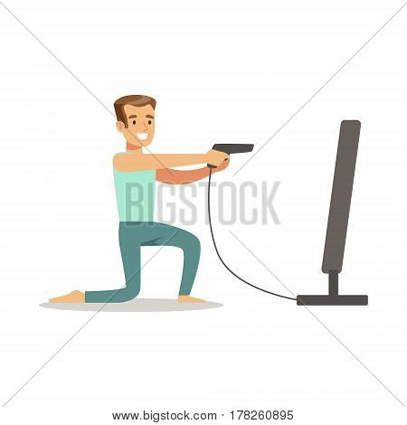 Man With Gun Joystick Shooting, Part Of Happy Gamers Enjoying Playing Video Game, People Indoors Having Fun With Computer Gaming. Modern Playing Technology Entertainment For Home Leisure Vector Illustration.