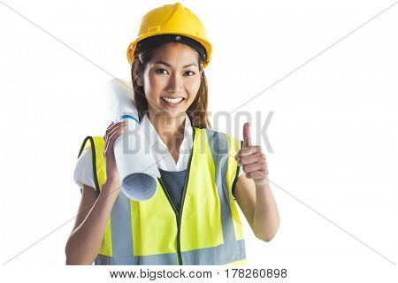 Architect woman with thumbs up on white background