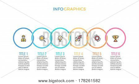 Business infographics. Presentation slide, chart diagram with 6 steps