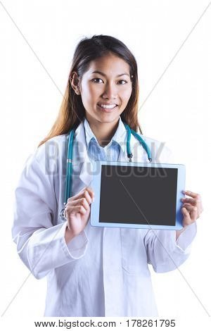 Asian doctor showing tablet on white background