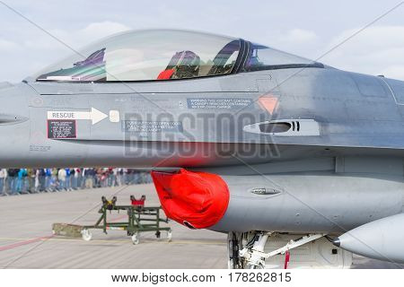 LEEUWARDEN NETHERLANDS - JUNE 6 2016: detail of an F-16 fighting falcon at the Dutch Air Force open days.