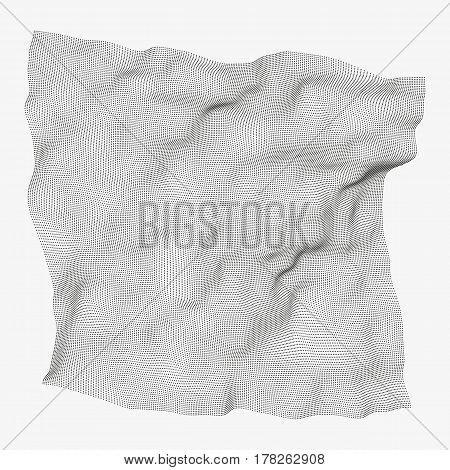 Modern abstract vector illustration. Soaring veil made of small round particles. Distorted structure of dots with 3d effect. Contemporary digital background. Element of futuristic design.