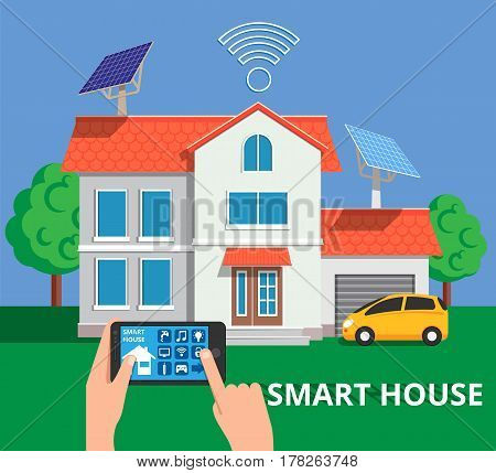 Smart house concept in flat stile. Remote home control system on a digital tablet or phone. Vector illustration for web banners, info graphic and brochure