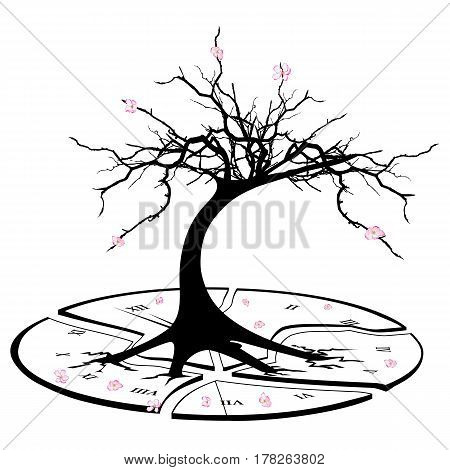 vector concept illustration with broken clock and apple tree