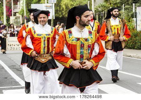 SELARGIUS, ITALY - September 13, 2015: Old wedding Selargino - Parade of folk group Sant'Antonio Abate of Desulo - Sardinia