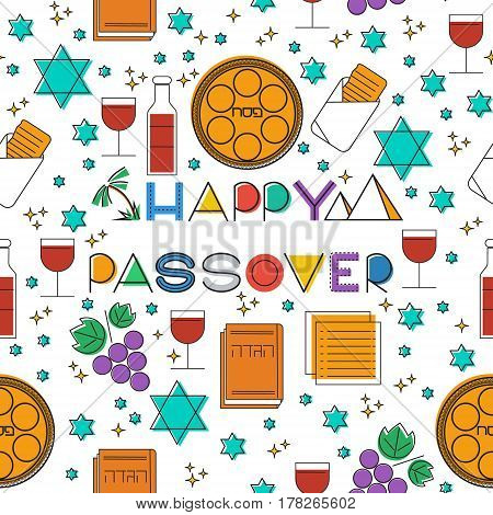 Happy Passover jewish holiday . Seamless pattern linear modern background. Vectot illustration with Passover holiday symbols.
