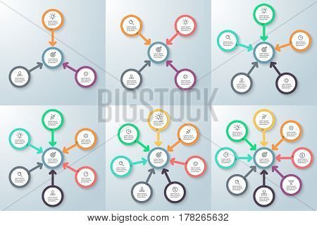 Business infographics. Diagrams with 3 - 8 arrows, options and central element.