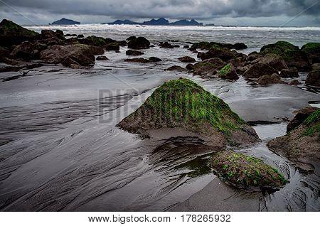 Black sands of Vestmann Islands on Iceland