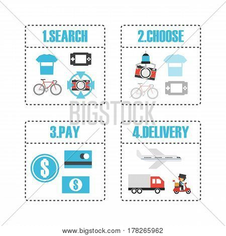 online shop infographic isolated in white background